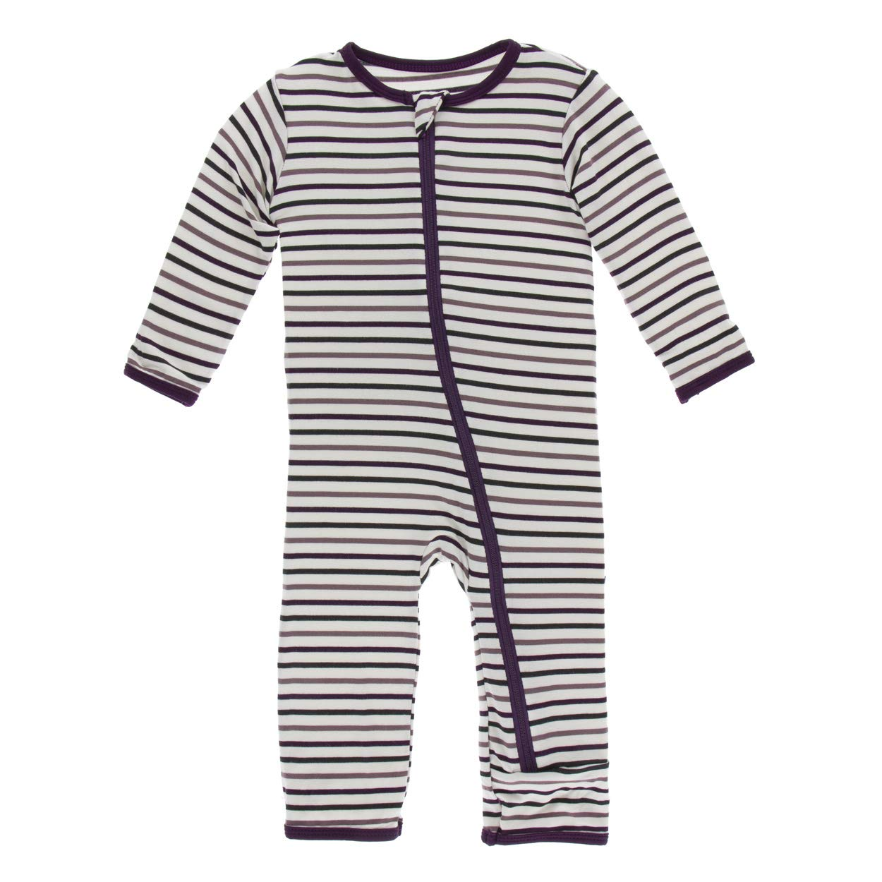 Kickee Pants Little Girls and Boys Print Coverall with Zipper - Tuscan Vineyard Stripe, 5 Years