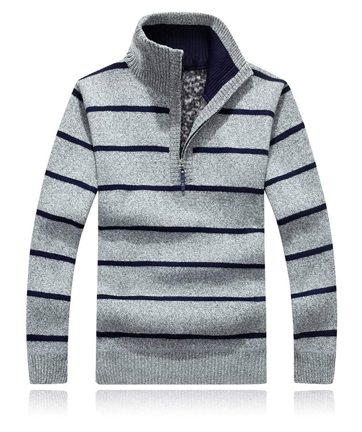 Nerefy Men Striped Sweatercoat Pullovers Thick Knitted Sweaters Stand Collar
