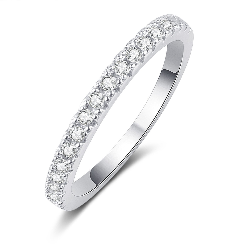 Panghoo 925 Sterling Silver Cz Diamond Wedding Ring Set for Women (5) by Panghoo (Image #7)