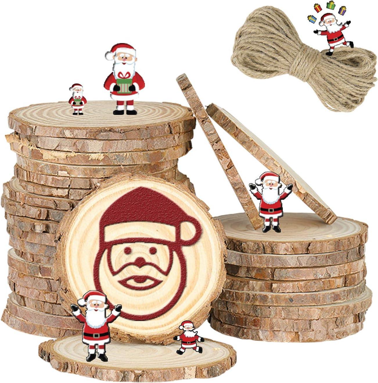 36 STK VGOODALL Holzscheiben Holzscheiben zum Basteln 7-8 cm mit Loch Unvollendete Holzkreise f/ür DIY Handwerk Holz-Scheiben Hochzeit Mittelst/ücke