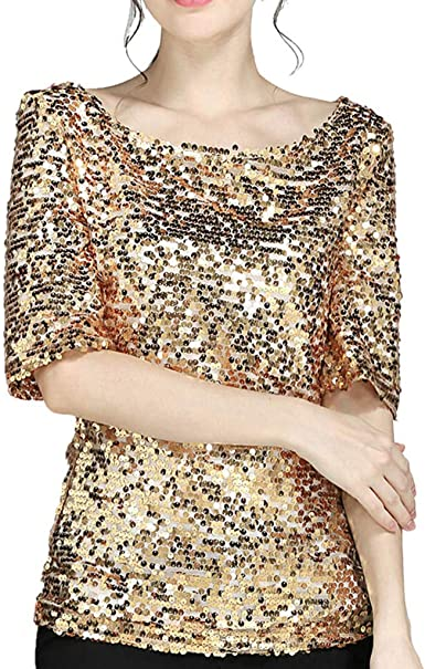 Fiesta Lentejuelas Blusa,Mujer Fiesta Verano Camiseta De,Mujer De Gran Tama/ño,con Lentejuelas Sin Mangas Falda Sin Mangas Camiseta Mujer Basica