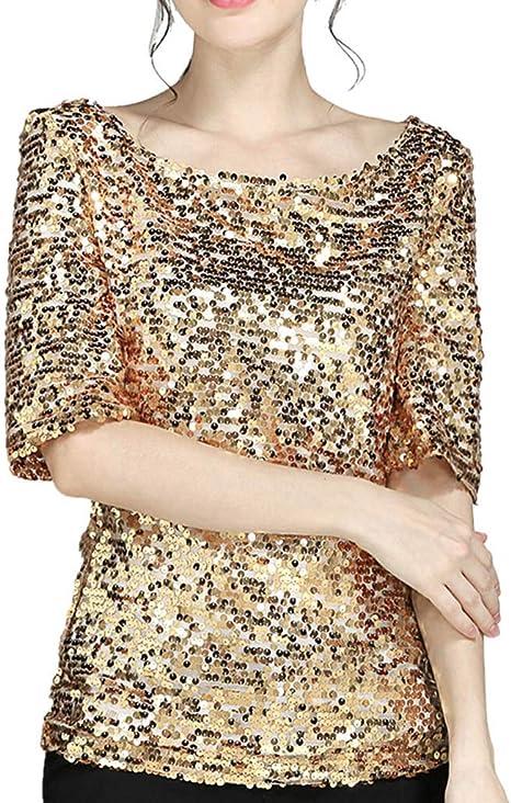 MERICAL Moda Mujer Lentejuelas Chispa Fiesta de cóctel Ocasional Superior Blusa Crop Tops Camisa: Amazon.es: Ropa y accesorios