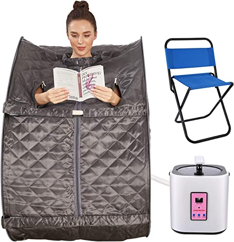 Anfan Portable Steam Sauna 2L Personal Home Sauna Spa for Weight Loss Detox Relaxation w Remote Control, Foldable Chair and Timer Gray