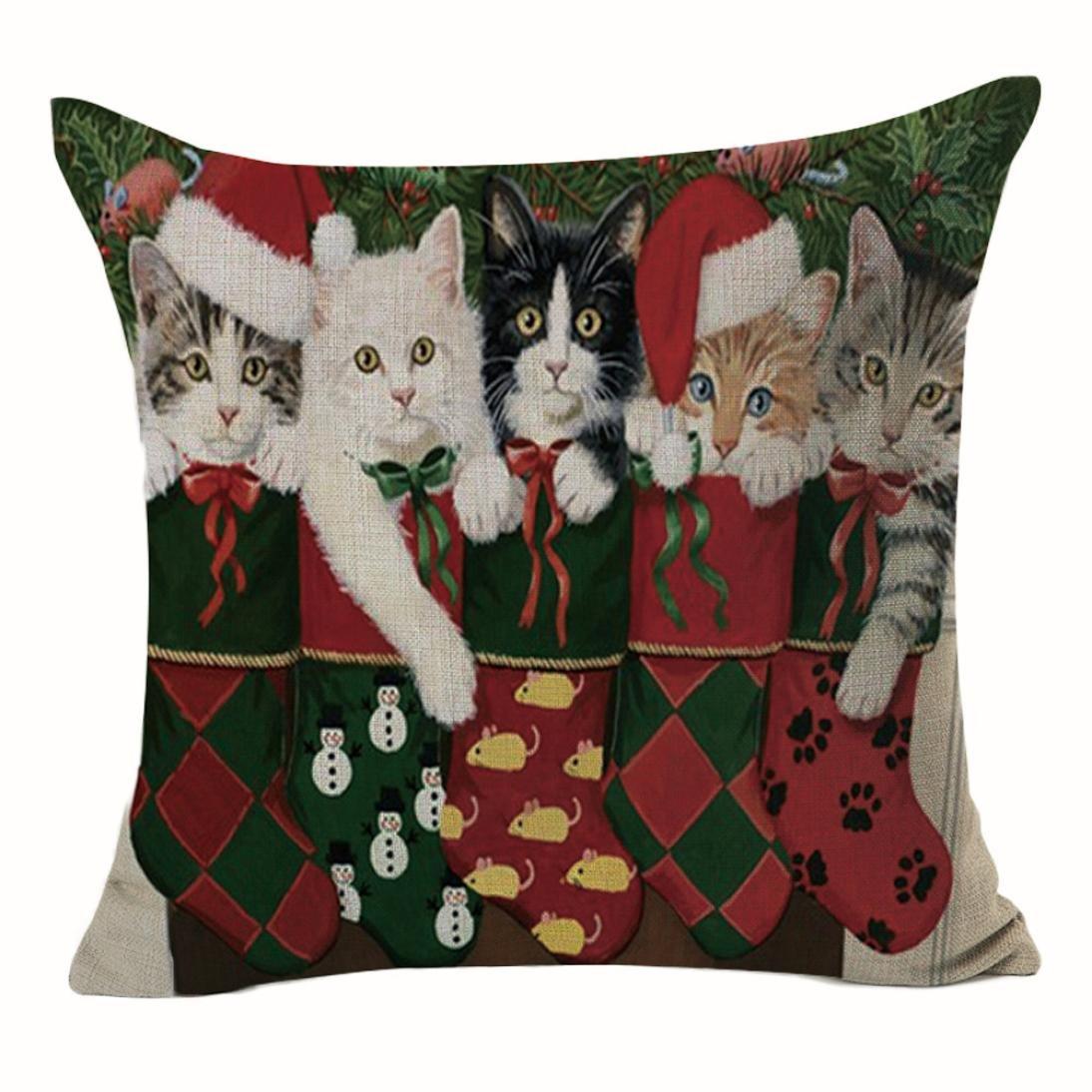 Gotd Merry Christmas Pillow Case Cute Cat Xmas 18 x 18 Cushion Cover Merry Chritmas Home Decor Design Throw Pillow Cover Pillow Case 18 x 18 Inch ...