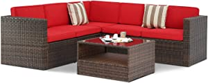 SUNCROWN Outdoor 4-Piece Furniture Sectional Sofa Set All Weather Brown Wicker with Washable Seat Cushions and Modern Glass Coffee Table, Red