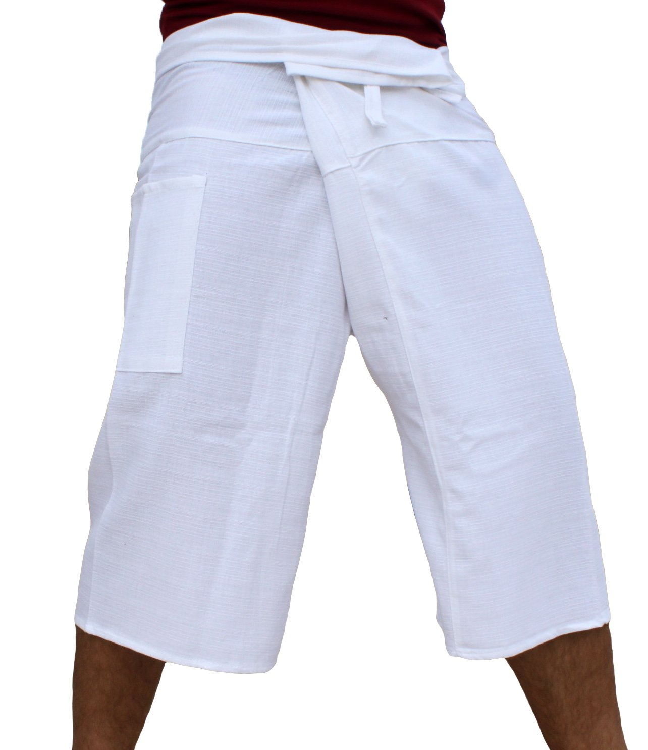 Raan Pah Muang Brand Thick Line Cotton Thai Fisherman Capri Wrap Pants, Medium, White by Raan Pah Muang