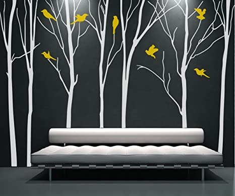 Tree Branch Tree Wall Decal White Tree Wall Decal Nursery Wall Decals Tree  With Birds Tree