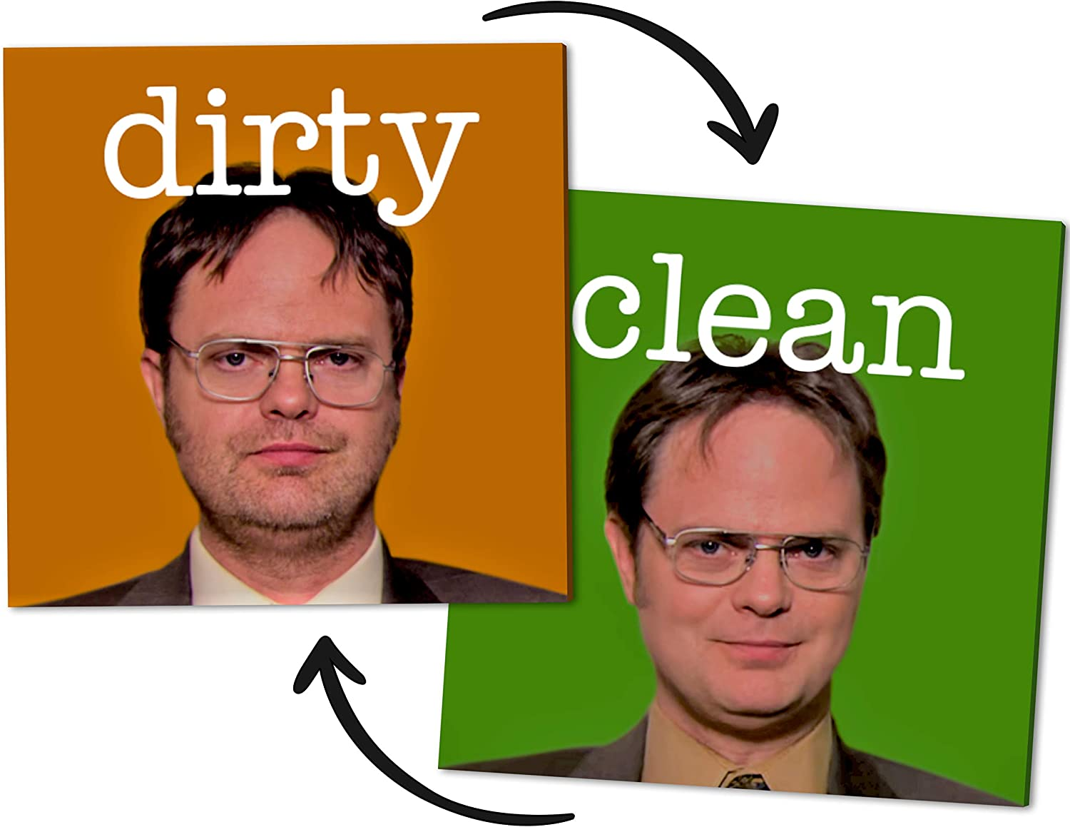 Dwight Schrute - Clean Dirty Dishwasher Flip Magnet Sign- Toughest Magnet Double Sided Flip Label - Universal Stainless Steel Kitchen Dish Washer Reversible Indicator