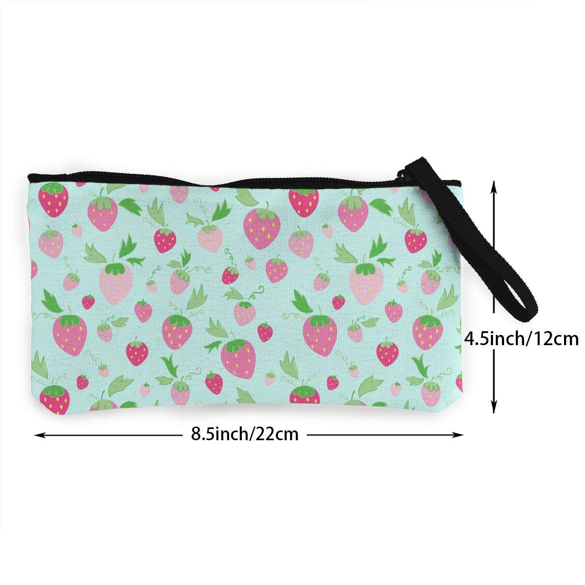Strawberries On Mint Pattern Canvas Change Coin Purse Small Cute Wallet Bag With Zip