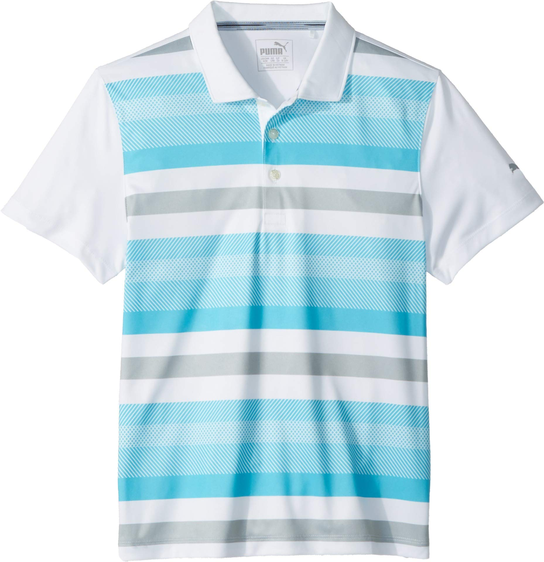 Puma Golf Boy's 2018 Turf Stripe Polo, Small, Blue Atoll
