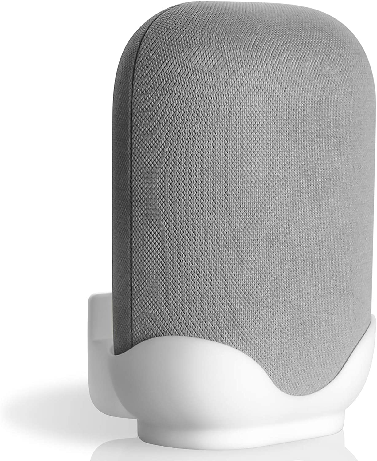 Wall Mount Holder Compatible with Google Nest Audio, ABS Wall Mount for Wall Hanging, Clear Desktop Placement Bracket Stand for Home Speaker-White