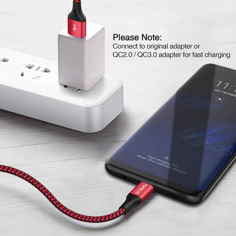 1m2m3m//Lot de 3 C/âble USB Type C EVIISO Cordon USB C Synchro et Charge de Donn/ées Rapide Chargeur Nylon Tress/é C/âble USB C pour Samsung S9 S8,Huawei P10 P20,Honor,LG,OnePlus,Sony Xperia,Xiaomi