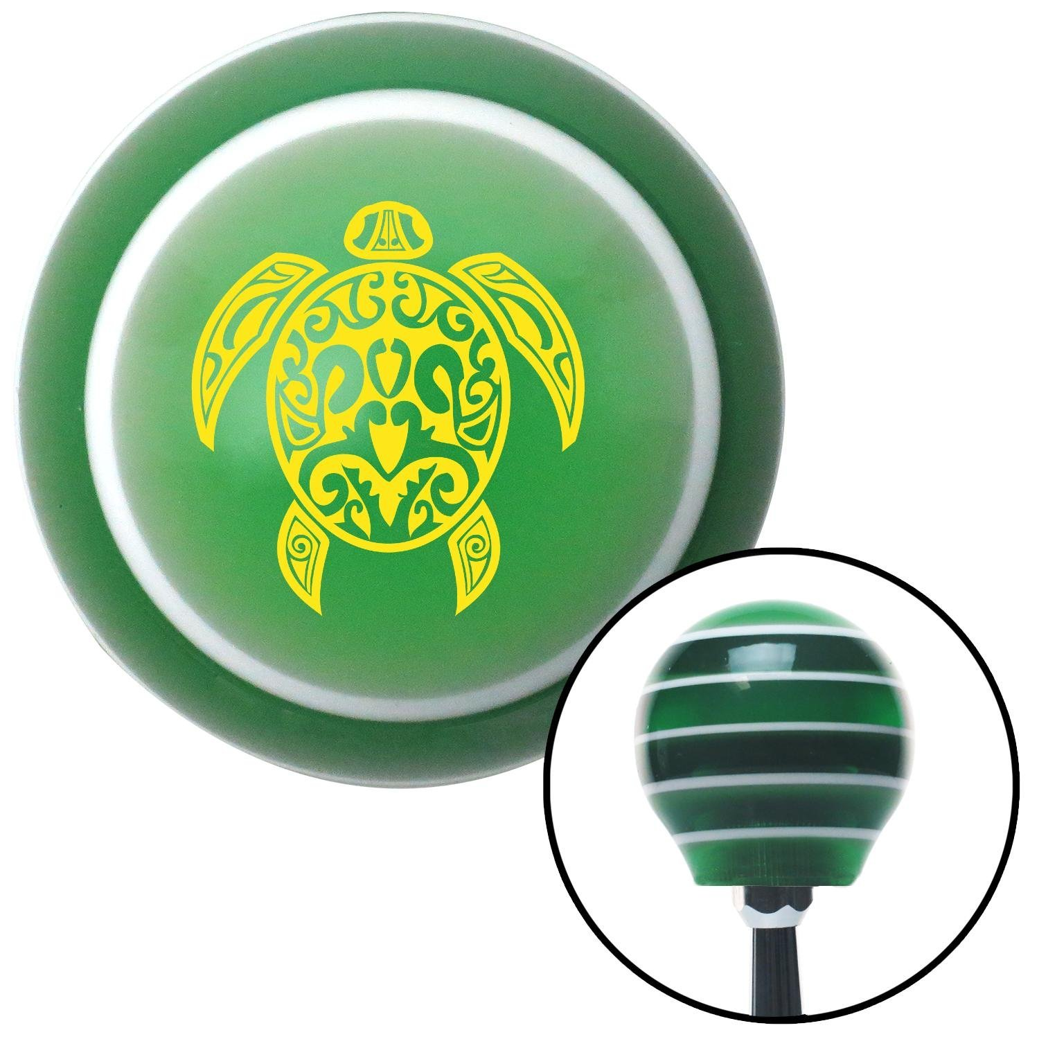 Yellow Giant Turtle American Shifter 124346 Green Stripe Shift Knob with M16 x 1.5 Insert