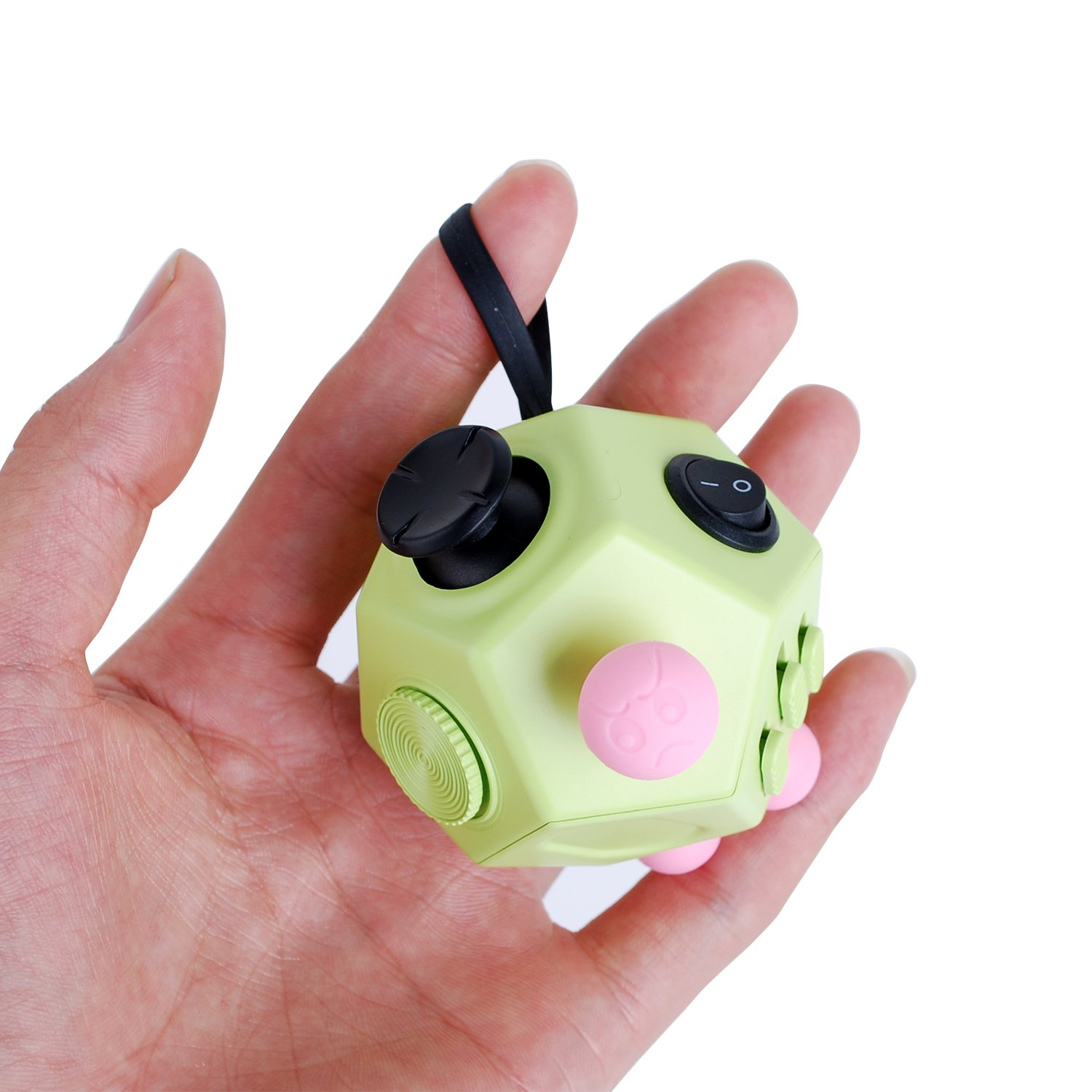 Fidget Cube Toys, Relieves Stress and Increases Focus for Adults and Children with ADHD ADD OCD Autism - 12 Sides Fidget Dice (Green) by BSL (Image #6)