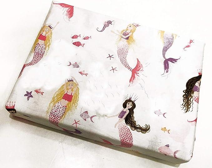 Cynthia Rowley 3pc Sheet Set Pastel Mermaids Shells Pink Blue on White on White 100/% Cotton Percale Luxury Twin