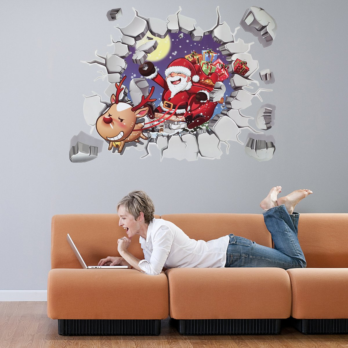 Christmas Wall Decals Stickers,3D Style Santa Claus Carrying Gifts Waterproof Environmental Protection PVC Removable DIY Sticker Wall Decals Sticker for Home Decor /Wall Decor