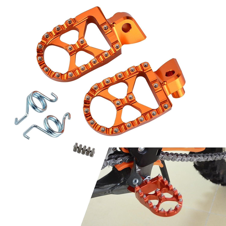 H2Racing Orange Motorrä der Fuß rasten Ruhepedale Fuß rasten Pedale fü r 200-530 XC-W/XCF-W, 250 XC-F, 150-300 XC 2006-2016, 350-450 XC-F 2008-2015, 125-530 EXC/EXC-F 1998-2016(Nicht passend 690 SMC 2008)