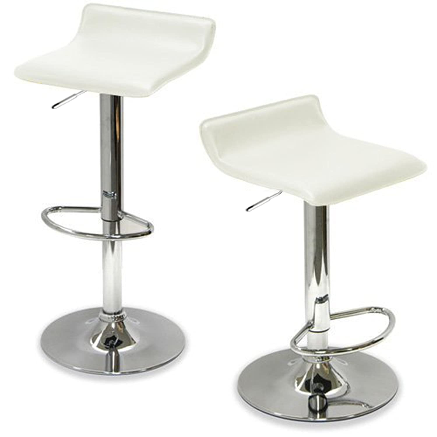 Amazon.com: Kingu0027s Brand 9009W Air Lift Adjustable Bar Stool With Vinyl  Seat, White And Chrome Finish, Set Of 2: Kitchen U0026 Dining