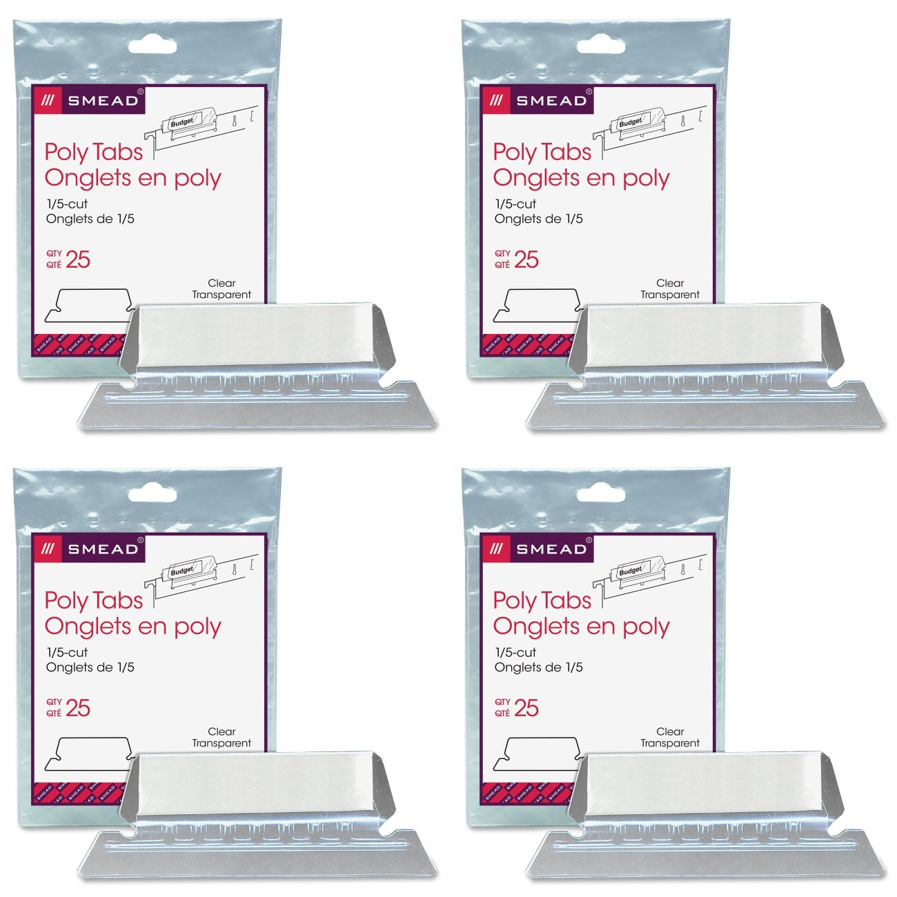 Smead Poly Tab 1/5 Cut Tab, Clear, 25 Per Pack (64600), 4 Packs
