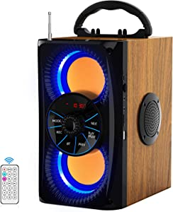 Wireless Bluetooth Speaker with lights 10W HD Sound and Bass, Wood body, Four Stereo Loud, Portable Record Speakers for Home, Party, Outdoor, Travel, Gift