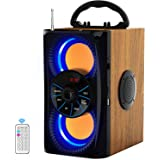 Wireless Bluetooth Speaker with Lights 10W HD Sound and Bass, Wood Body, Four Stereo Loud, Portable Record Speakers for Home,