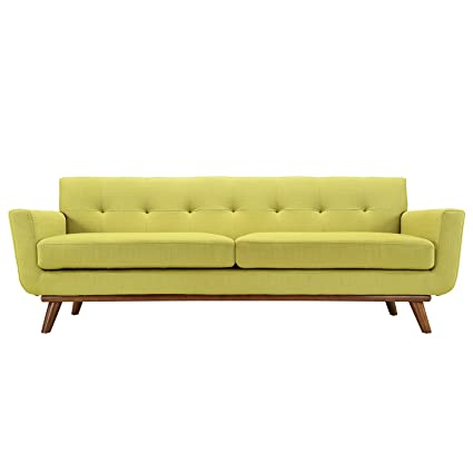 Gentil Retro Modern Lounge Sofa, Chartreuse