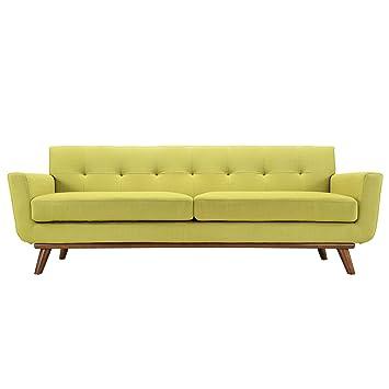 Retro Modern Sofa In Chartreuse