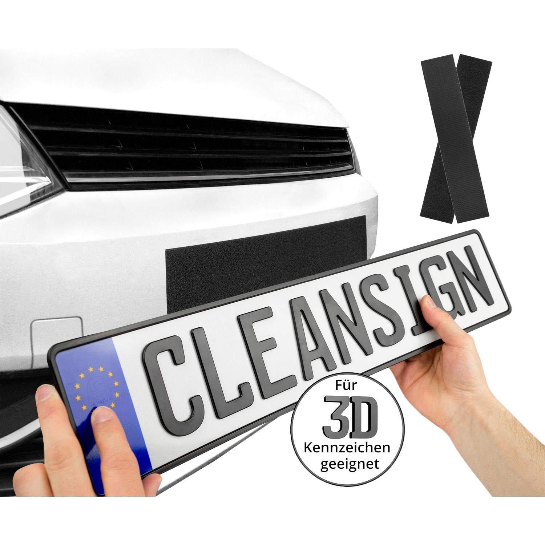 1 KFZ Nummernschildhalterung ohne Rahmen CLEANSIGN Kennzeichenhalter Auto rahmenlos Set, unsichtbar, rahmenlos, Klett-System