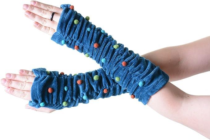 KUNST UND MAGIE Samt Armstulpen Stulpen Handw/ärmer mit lustigen Filzkugeln in tollen Farben