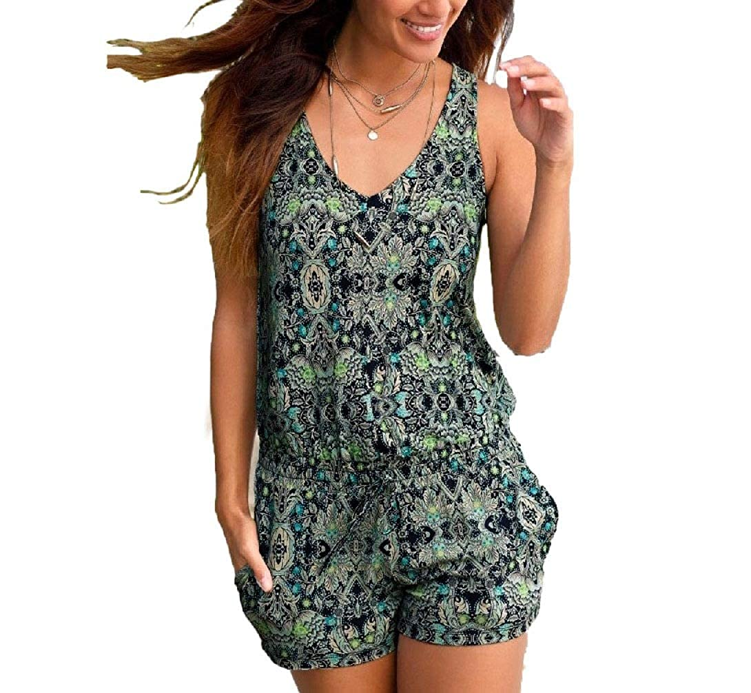 Yingshif Women Sleeveless Printed Cute Short One Piece Jumpsuit Playsuit Jumper