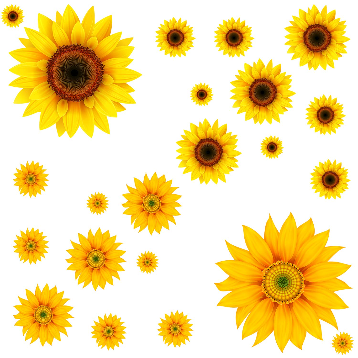 22Pcs DIY Sunflower Wall Sticker 3D Yellow Flower Wall Decals Peel and Stick Removable Wall Art Decor Nursery Daisy Floral Stickers for Kids Baby Living Room Decoration by Prabahdak
