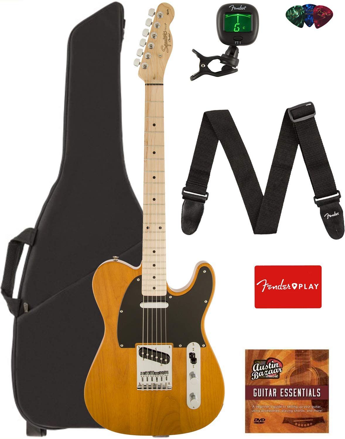 Fender Squier Affinity Series Telecaster Guitar - Maple Fingerboard, Butterscotch Blonde Bundle with Gig Bag, Tuner, Strap, Picks, and Austin Bazaar Instructional DVD