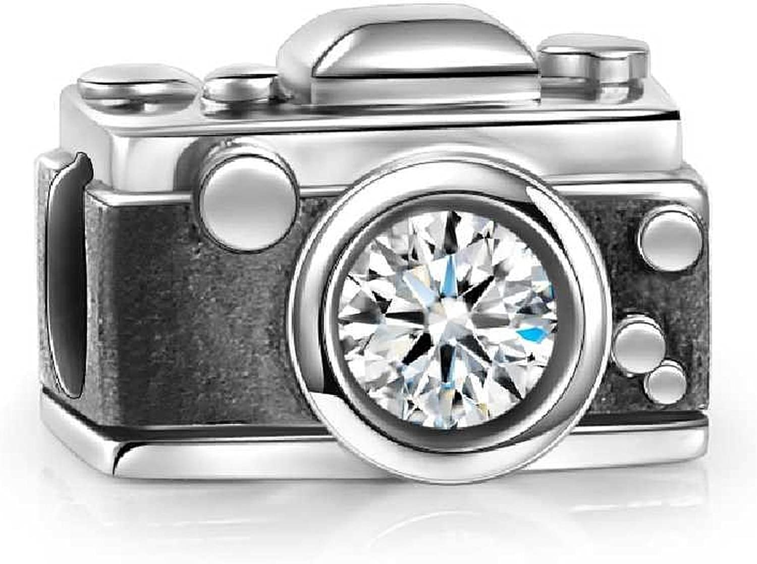 Vintage Camera Charm 925 Sterling Silver Crystal Bead Fit European Brand Charms