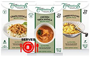 CHICKEN TIKKA MASALA, CHANA MASALA, POTATO CURRY INDIAN FOOD SPICES by Flavor Temptations. Home Cook Variety of Dishes with Beginner Seasoning Set. Gluten free, Salt free. 3 Packs (Total 8 Servings)