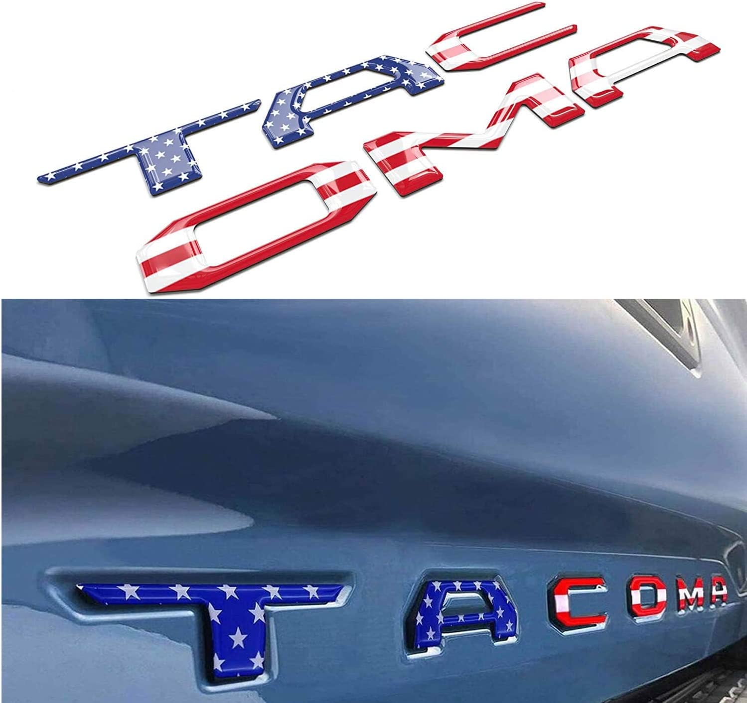Domed 3D Raised Tailgate Letters Flag Reflective Emblem Decals Compatible with 2016-2020 Tacoma Models