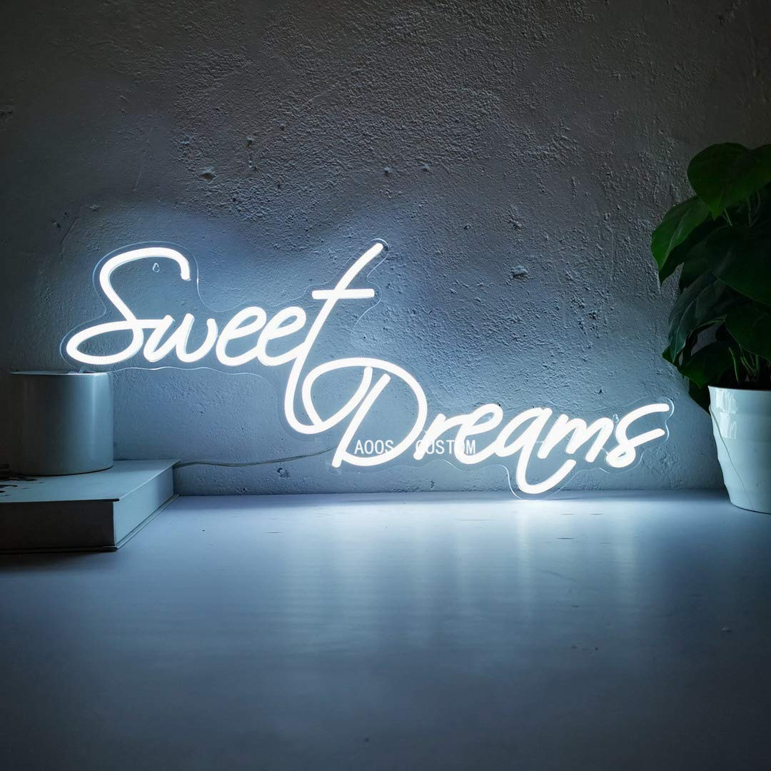 Sweet Dreams Custom Dimmable LED Neon Signs for Wall Decor (Customization Options: Color, Size, Dimming, Wall Mounted, Desktop Type, Hanging in a Window/Ceiling, Electrical/Battery powered)