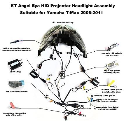 amazon com: kt headlight assembly for yamaha t-max 2008-2011 white angel  eye: automotive