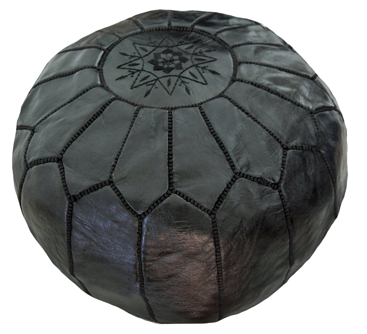 Poppet's MG7865009 20x20x16'' 100% Pure Faux leather Moroccan Black pouf