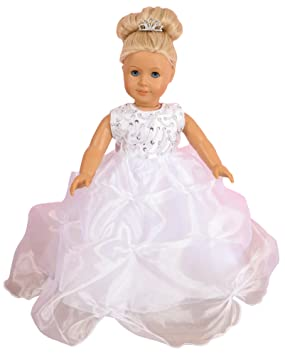 FRILLY LILY WHITE SOPHIA PROM DRESS SET FOR SMALL DOLLS 14-18 INCHES[ DOLL