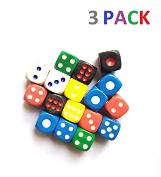 ISHARAA 3PCS Game Dice Creative Acrylic Dice 6-Sided Dice for Party Game