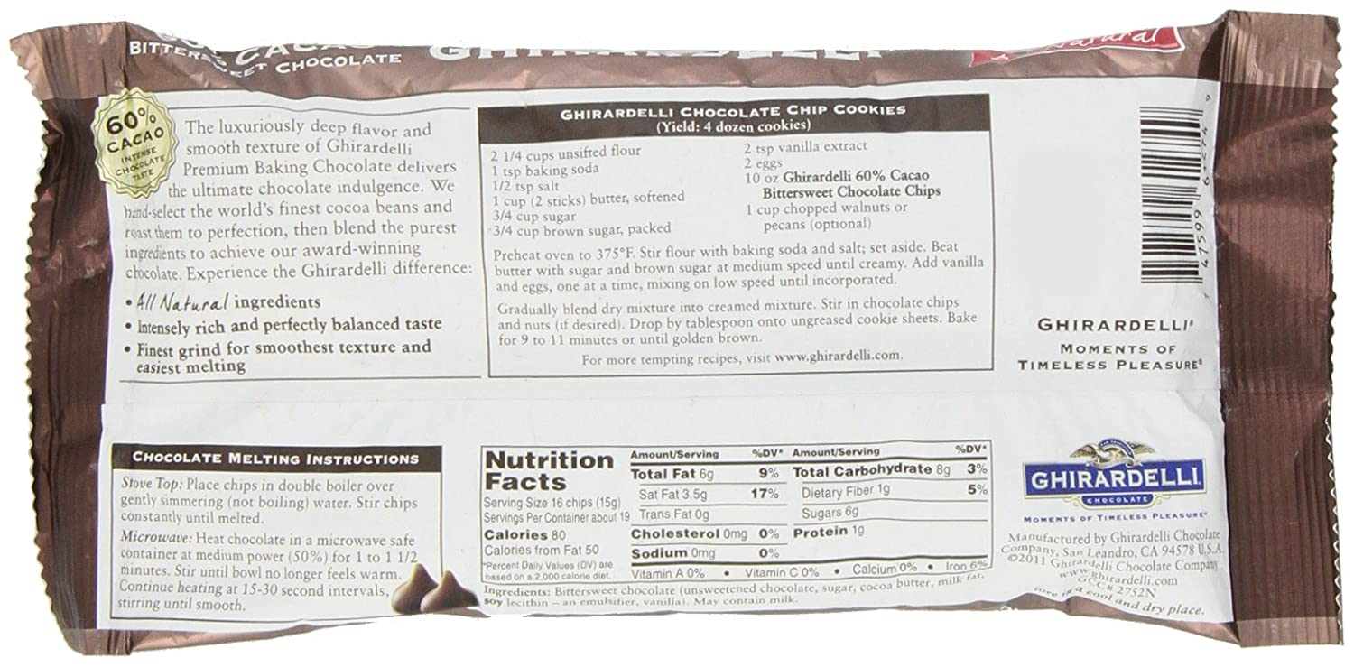 Amazon.com : Ghirardelli, 60% Bittersweet Chocolate Chips, 10 oz ...