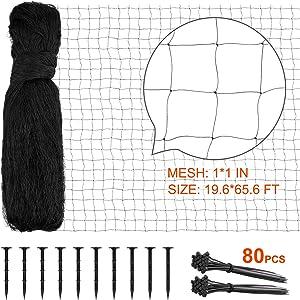 RUNDA Bird Netting, 19.6 X 65.6 Feet Bird Netting for Garden Reusable Protective Garden Netting for Vegetables Fruit Trees Against Birds, Deer and Other Animals
