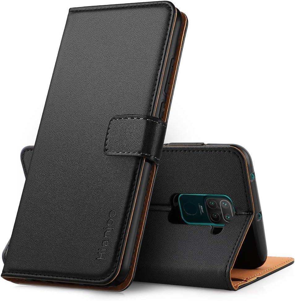 Hianjoo Funda Compatible con Xiaomi Redmi Note 9, Suave PU Cuero Carcasa con Flip Case Cover, Cierre Magnético,Función Soporte,Billetera con Tapa Tarjetas Compatible con Redmi Note 9, Negro