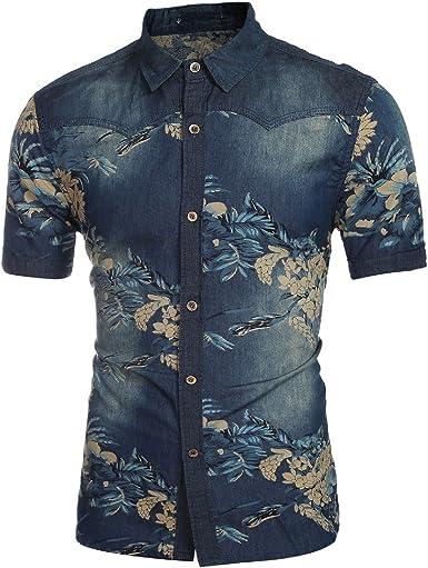Cloud Style - Camisa vaquera abotonada para hombre de estilo casual, de manga corta., Hombre, color Color De La Imagen, tamaño Large