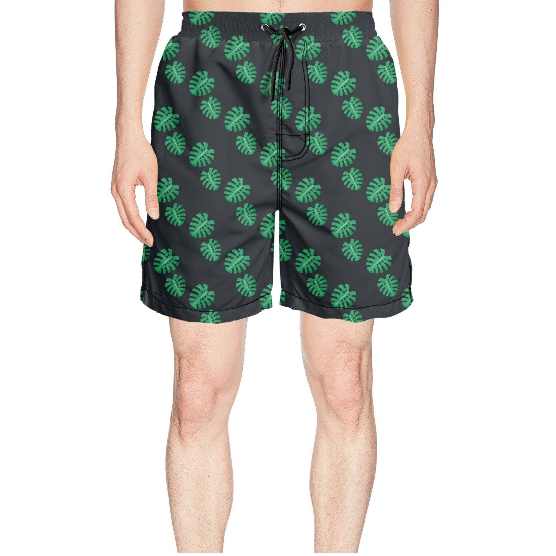 truye rrelk Cool Monstera Leaves Seamless Pattern Printed Man's Summer Short