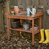 Cypress Wood Lotus Potting Bench with Metal Top