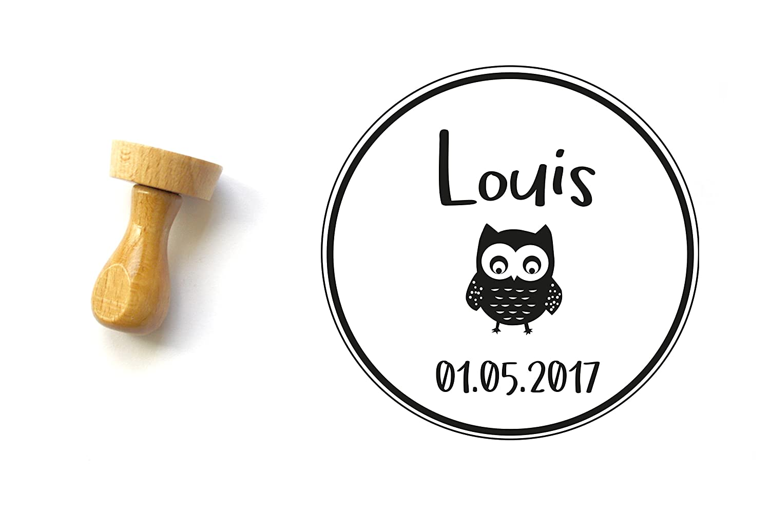 Birth Announcement Stamp Tag Custom Name Date With Owl New Baby Gift