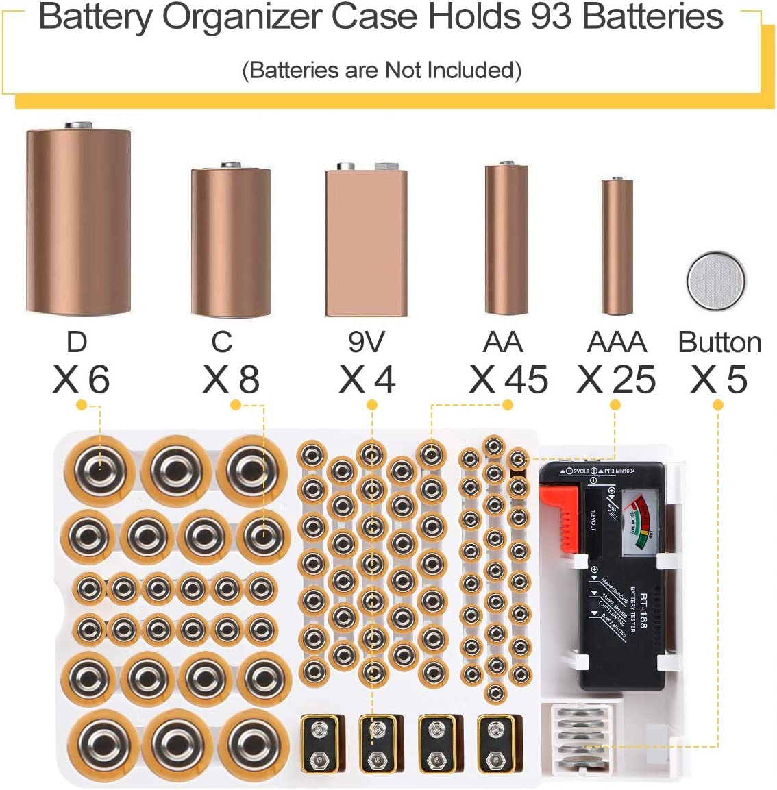 Battery Organizer Flat Batteries,C and D size with Removable Battery Tester By Makerfire 9V AA Batteries Storage Case holds 93 Different Size Batteries for AAA