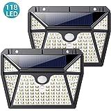 Luz Solar Exterior,QTshine Foco Solar Exterior 118 LED【Versión Ultra-Brillante】con Sensor de Movimiento Lámpara Solar Impermeable Gran Ángulo 270º de Iluminación Luces Solares Jardín 2-Paquete