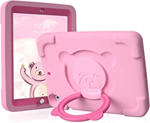 pzoz iPad Kids Case Compatible for Apple iPad Air 1/2 / 6th Generation 2018 / 5th Gen 2017 9.7 inch, EVA Shockproof Rotate Handle Folding Stand Heavy Duty Protective Cute Cover for Boys Girls (Pink)